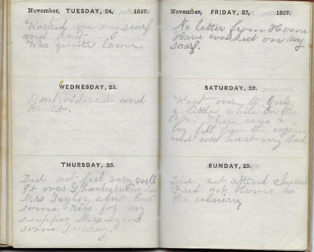 Ann M. Hull, Diary of 1857, (Susquehanna County, Pennsylvania), 24-29 November 1857, privately held by Faulkner-Hull Collection
