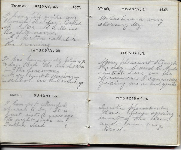 Ann M. Hull, Diary of 1857, (Susquehanna County, Pennsylvania), 27-28 Feb 1857, privately held by Faulkner-Hull Collection