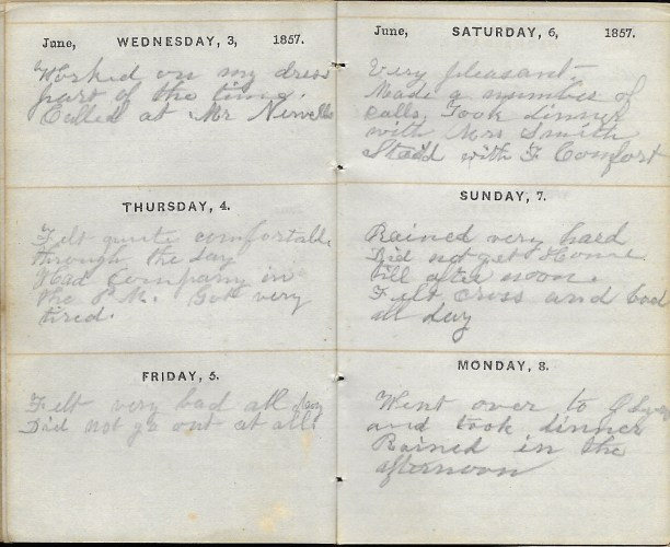 Ann M. Hull, Diary of 1857, (Susquehanna County, Pennsylvania), 3-8 June 1857, privately held by Faulkner-Hull Collection