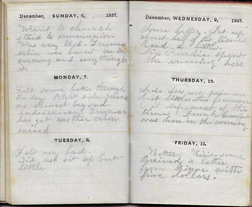 Ann M. Hull, Diary of 1857, (Susquehanna County, Pennsylvania), 6-11 December 1857, privately held by Faulkner-Hull Collection