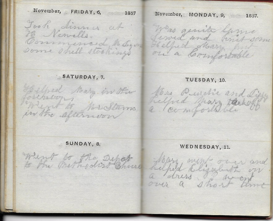 Ann M. Hull, Diary of 1857, (Susquehanna County, Pennsylvania), 6-11 November 1857, privately held by Faulkner-Hull Collection