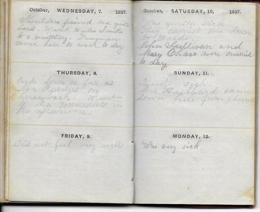 Ann M. Hull, Diary of 1857, (Susquehanna County, Pennsylvania), 7-12 October 1857, privately held by Faulkner-Hull Collection