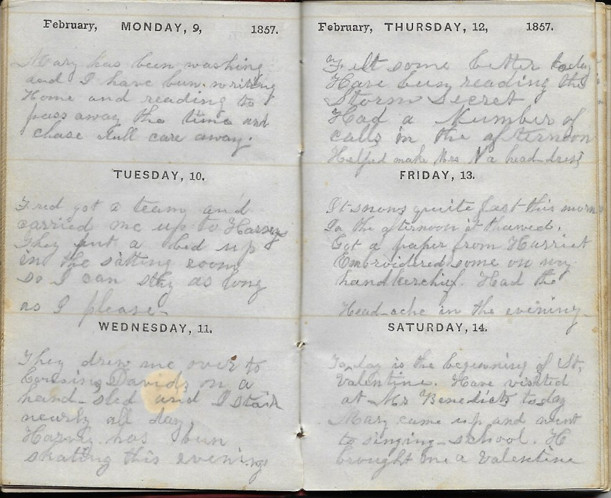 Ann M. Hull, Diary of 1857, (Susquehanna County, Pennsylvania), 9-14 Feb 1857, privately held by Faulkner-Hull Collection