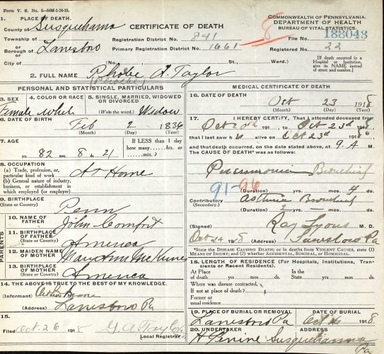 Commonwealth of Pennsylvania, Bureau of Vital Statistics, certificate of death, no. 188043, Lanesboro, Susquehanna County, Phoebe A. Taylor, 23 Oct 1918.