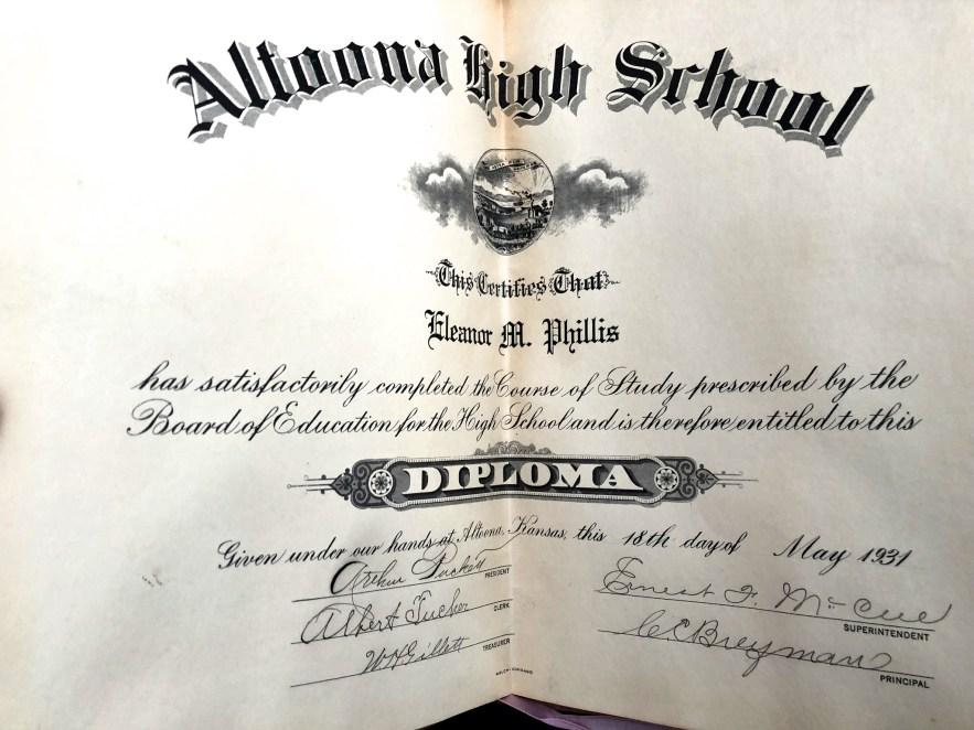 Eleanor M. Phillis, Altoona High School Diploma