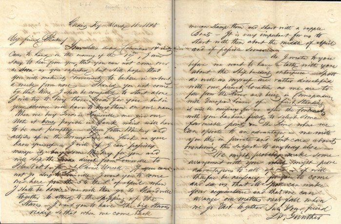 L. W. Gunther (Cadiz, Kentucky) to Charles H. Blake (Blandsville, Kentucky), letter, 18 Mar 1848
