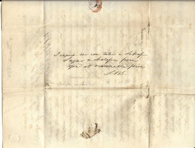 L. W. Gunther (Cadiz, Kentucky) to Charles H. Blake (Blandsville, Kentucky), letter note, 18 Mar 1848- Faulkner-Hull Collection, privately held by Kimberli Faulkner Hull.