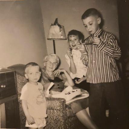 Lora Faulkner with grandchildren, Marsha, Gene and Charles