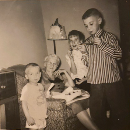 Lora Faulkner with grandchildren, Marsha, Gene and Charles