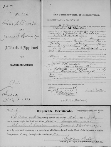 Susquehanna County, Pennsylvania, Marriage Applications 1897, Affidavit of Applicant for Marriage License, no. 116, Chas. S. Proctor–Jessie F. Holdridge, 7 July 1897