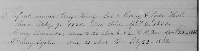 Whitingham, Windham County, Vermont, Birth and Death Record, vol. A, 1829-1863, p. 13, Emory and Lydia Hull family.