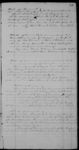 Whitingham, Windham County, Vermont, Record of Marriages, vol. B, p. 73, Frederick D. Lyons–Mary A. Hull, 13 Aug 1851.