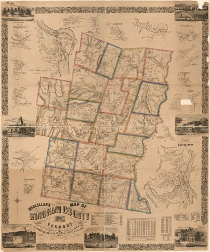Windham County, Vermont 1858 map