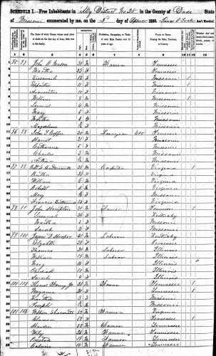 1850 U.S. census, Dade County, Missouri, population schedule, dwelling 99, family 101, James D. Hooper household.