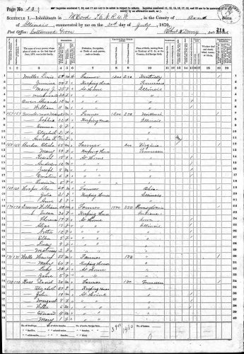 1870 U.S. census, McCord, Bond County, Illinois, population schedule, p. 23, dwelling 169, Alex Hooper household.