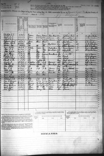 1880 U.S. census, Beaver Creek Precinct, Bond County, Illinois, mortality schedule, enumeration district (ED) 74, p. 7, Thomas K. Hooper.