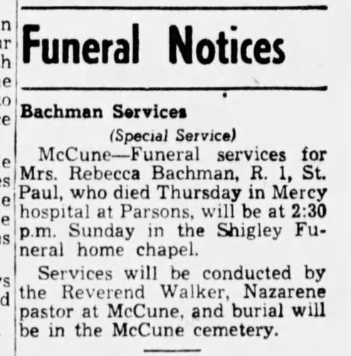 """Bachman Services,"" funeral notice, The Parsons Sun (Parsons, Kansas), 23 Oct 1948, p. 2, col. 8."