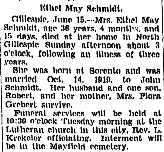 """""""Ethel May Schmidt,"""" obituary, Daily Illinois State Journal (Springfield, Illinois), 16 June 1931, p. 7, col. 2."""