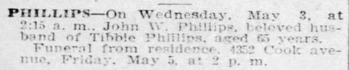 """John W. Phillips,"" death notice, St. Louis Post-Dispatch (St. Louis, Missouri), 3 May 1905, p. 12, col. 1."