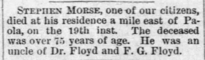 """Stephen Morse,"" death notice, The Western Spirit (Paola, Kansas), 23 Feb 1883, p. 3, col. 4."