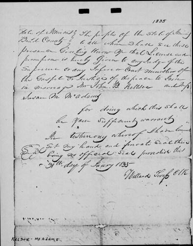 Bond County, Ilinois, Death Register, vol. A, p. 57, no. 737, Susan Kellsoe, 7 May 1882.