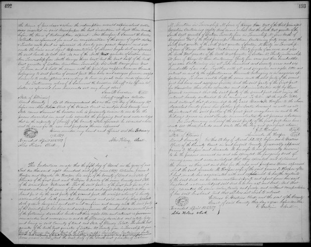 Bond County, Illinois, Deed Record, vol. T, p. 492, James D. and Amanda M. Drake Hooper to William C. Drake, 5 Mar 1859.