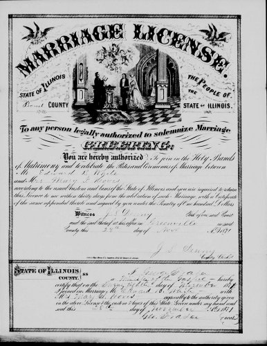 Bond County, Illinois, Marriage License, loose papers, Edward B. White–Mary I. Hovis, 28 Nov 1871.