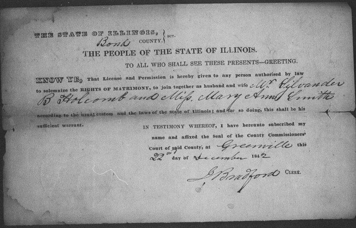 Bond County, Illinois, Marriage Records 1817-1872, loose papers, Silvander B. Holcomb–Mary Ann Smith, 22 Dec 1842.