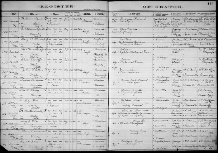 Bond County, Illinois, Register of Deaths, vol. A, p. 113, no. 105, William Davis, 26 Jul 1888.