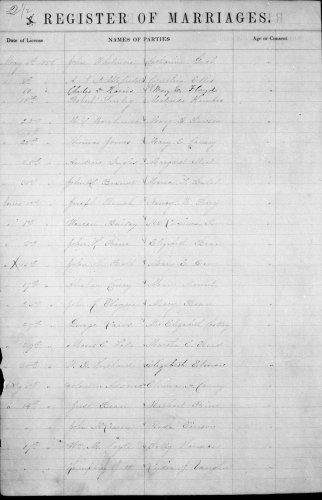 Bond County, Illinois, Register of Marriages, vol. A, p. 2.5, Jesse Bean–Rachael Paine, 14 July 1858.
