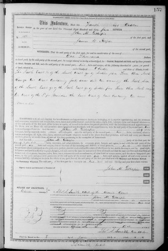 Clinton County, Illinois, Deed Record, vol. W, p. 157, John M. Gillespie to James D. Hooper, 4 Oct 1865.