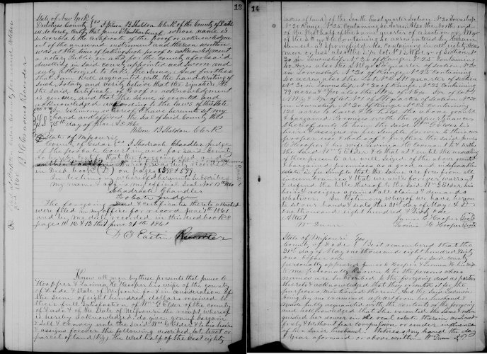 Dade County, Missouri, Deeds, vol. 8, p. 13-14, James C. and Lavina H. Hooper to William G. Elder, 31 May 1861. 120 acres. Consideration $800. Recorded 8 June 1861
