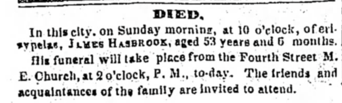 """Died, James Hasbrook,"" death notice, The Louisville Daily Courier (Louisville, Kentucky), 17 Jan 1848, p. 3, col. 1."