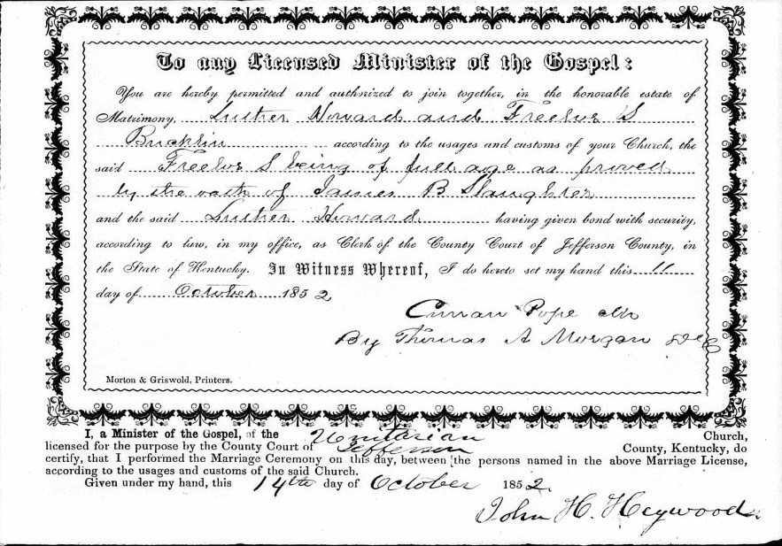 Jefferson County, Kentucky, Marriage Licenses 1852-1853, marriage license and return, Luther Howard–Freelove S. Bucklin, 14 Oct 1852.