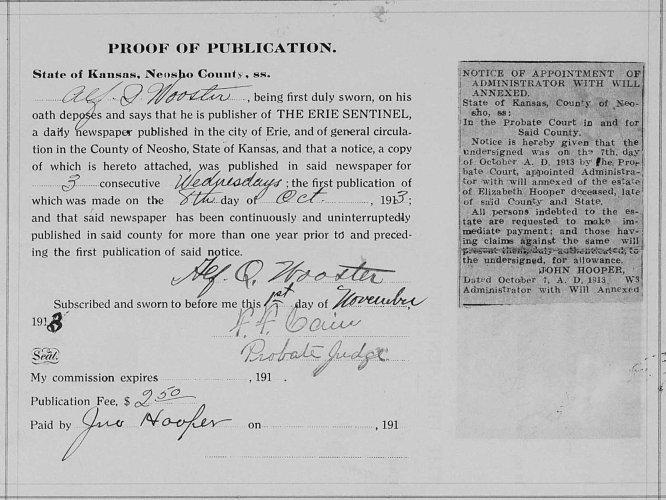 Neosho County, Kansas, Probate Court, Probate estate files, Elizabeth Hooper, proof of publication, 8 Oct 1913.