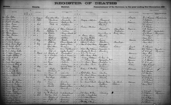 Petersburg, Virginia, Hustings Court Register of Deaths 1853-1871, no. 408, Alethea T. Morgan, 15 Mar 1884. Age: 73. Married. Birthplace: Petersburg, Virginia. Parents: Allin and Prudence Archer.
