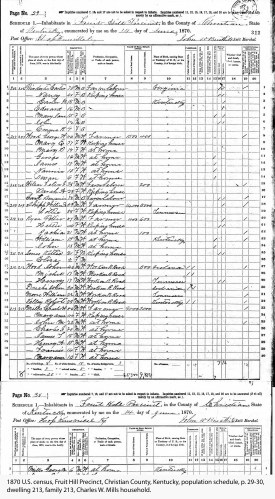 1870 U.S. census, Fruit Hill Precinct, Christian County, Kentucky, population schedule, p. 29-30, dwelling 213, family 213, Charles W. Mills household.