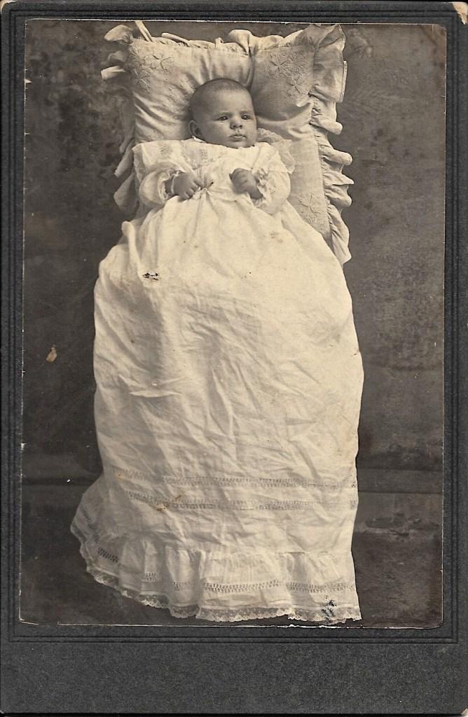 "Hanley Solease Baird, January 1904, Walnut, Kansas. Handwriting on back of photo reads, ""Hanley Baird, 6 weeks."" Privately held by Kimberli Faulkner Hull, niece of Eleanor Phillis Baird, wife of Hanley Baird."