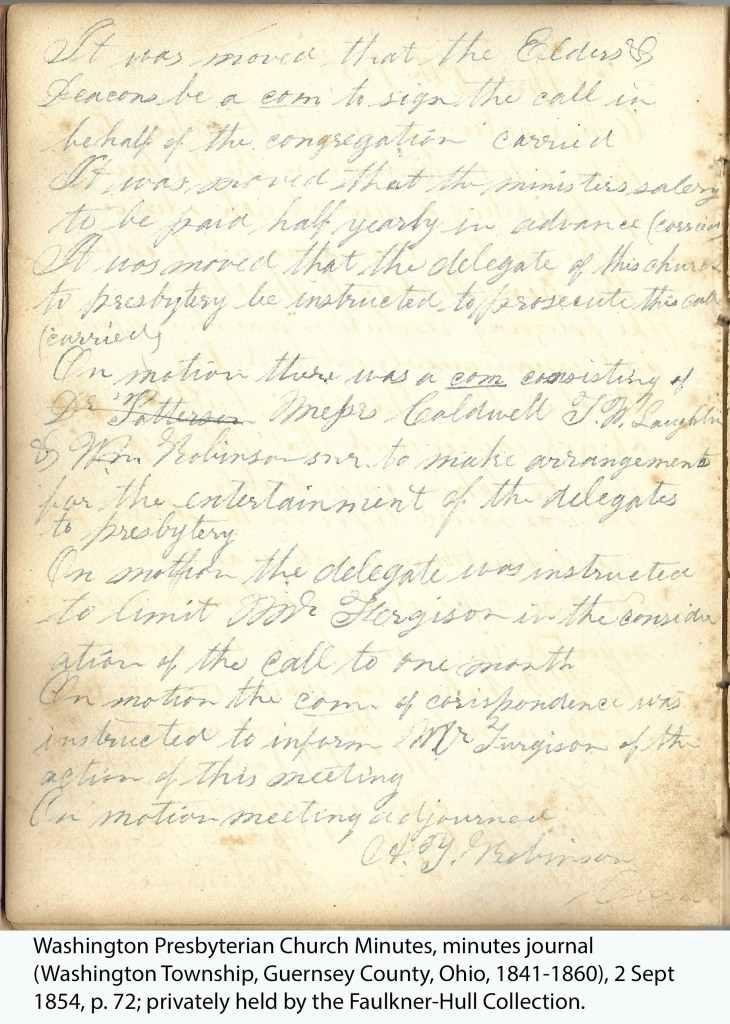Washington Presbyterian Church Minutes, minutes journal (Washington Township, Guernsey County, Ohio, 1841-1860), 2 Sept 1854, p. 72; privately held by the Faulkner-Hull Collection.