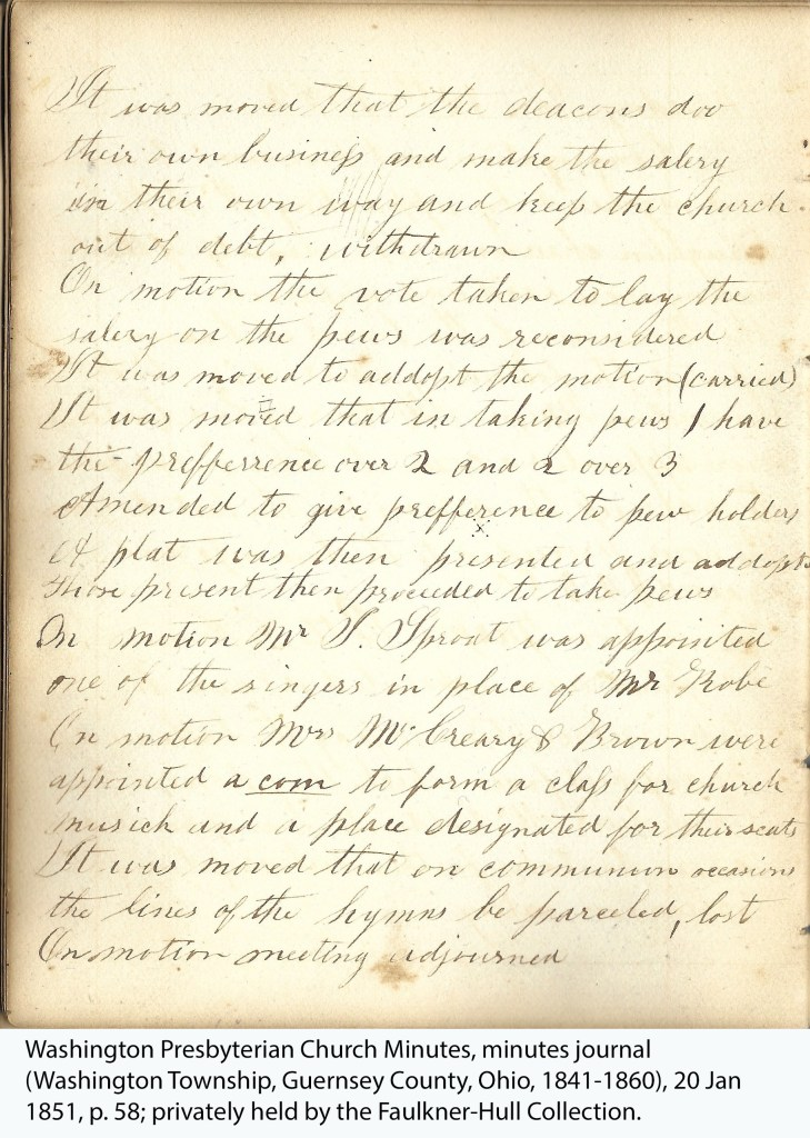 Washington Presbyterian Church Minutes, minutes journal (Washington Township, Guernsey County, Ohio, 1841-1860), 20 Jan 1851, p. 58; privately held by the Faulkner-Hull Collection.