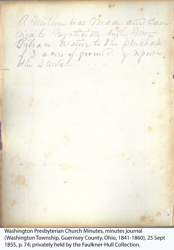 Washington Presbyterian Church Minutes, minutes journal (Washington Township, Guernsey County, Ohio, 1841-1860), 25 Sept 1855, p. 74; privately held by the Faulkner-Hull Collection.