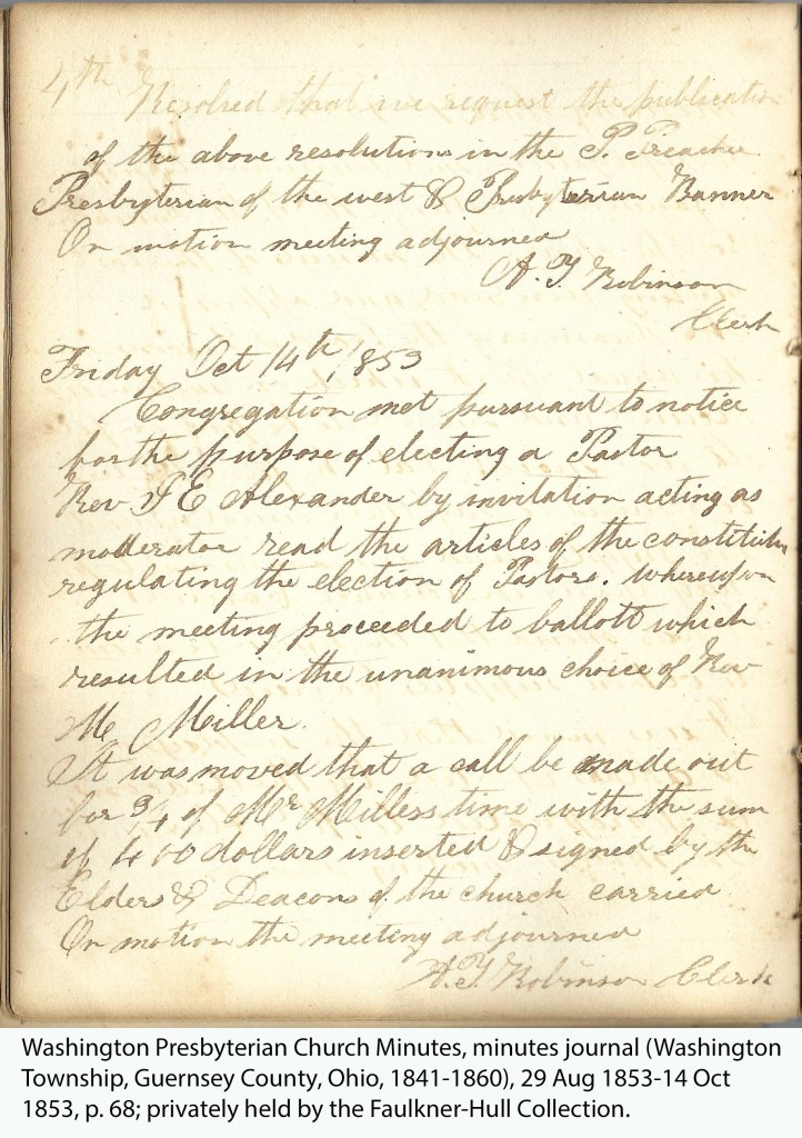 Washington Presbyterian Church Minutes, minutes journal (Washington Township, Guernsey County, Ohio, 1841-1860), 29 Aug 1853-14 Oct 1853, p. 68; privately held by the Faulkner-Hull Collection.