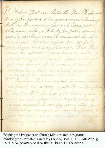 Washington Presbyterian Church Minutes, minutes journal (Washington Township, Guernsey County, Ohio, 1841-1860), 29 Aug 1853, p. 67; privately held by the Faulkner-Hull Collection.