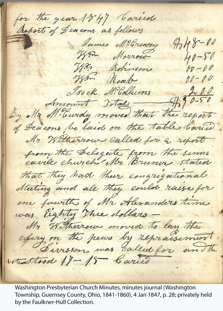 Washington Presbyterian Church Minutes, minutes journal (Washington Township, Guernsey County, Ohio, 1841-1860), 4 Jan 1847, p. 28; privately held by the Faulkner-Hull Collection.