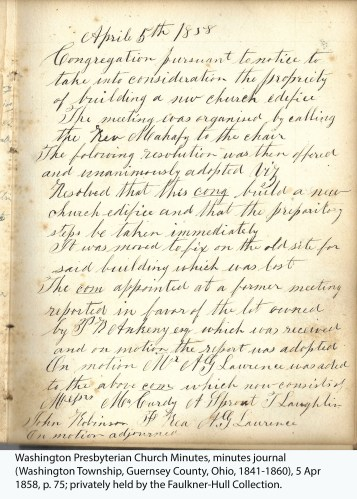 Washington Presbyterian Church Minutes, minutes journal (Washington Township, Guernsey County, Ohio, 1841-1860), 5 Apr 1858, p. 75; privately held by the Faulkner-Hull Collection.
