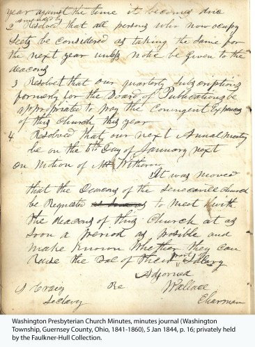 Washington Presbyterian Church Minutes, minutes journal (Washington Township, Guernsey County, Ohio, 1841-1860), 5 Jan 1844, p. 16; privately held by the Faulkner-Hull Collection.
