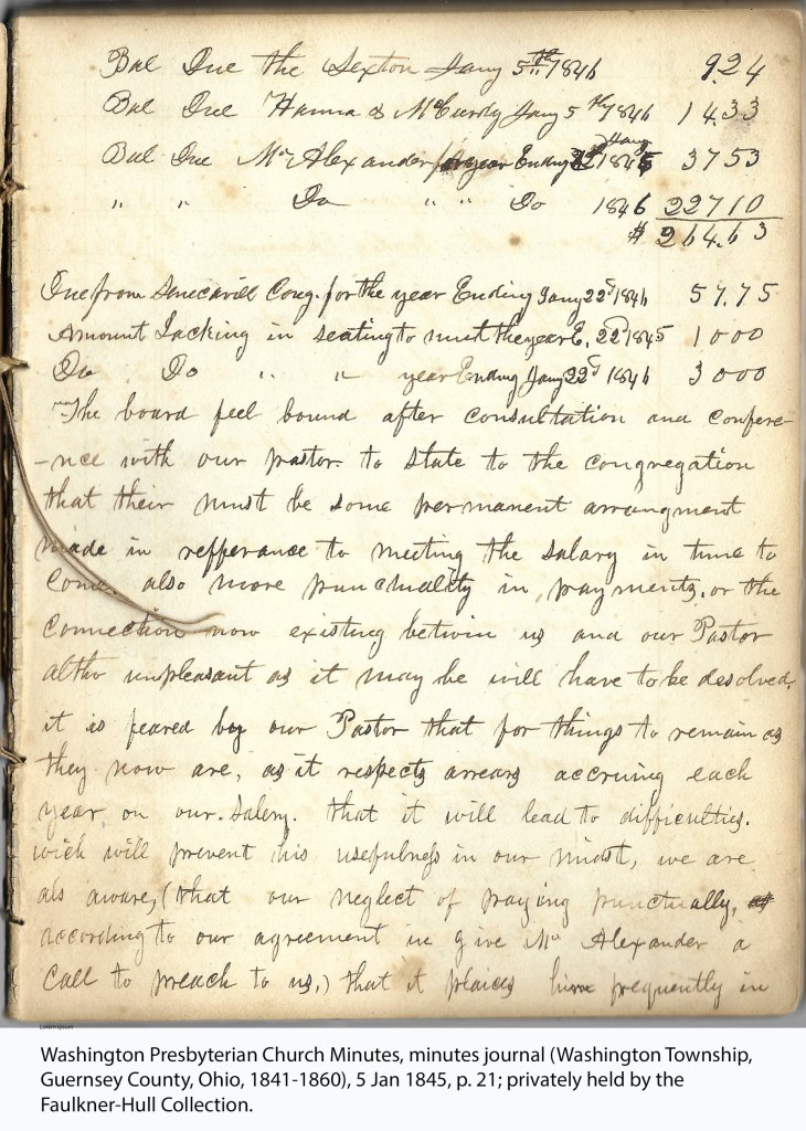 Washington Presbyterian Church Minutes, minutes journal (Washington Township, Guernsey County, Ohio, 1841-1860), 5 Jan 1845, p. 21; privately held by the Faulkner-Hull Collection.