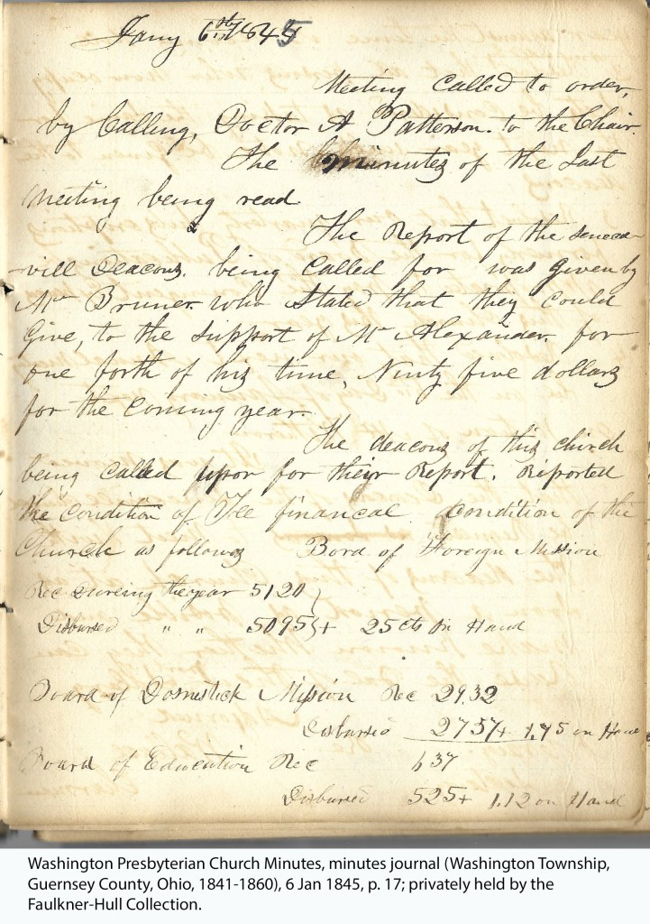 Washington Presbyterian Church Minutes, minutes journal (Washington Township, Guernsey County, Ohio, 1841-1860), 6 Jan 1845, p. 17; privately held by the Faulkner-Hull Collection.