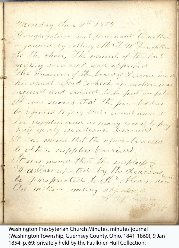 Washington Presbyterian Church Minutes, minutes journal (Washington Township, Guernsey County, Ohio, 1841-1860), 9 Jan 1854, p. 69; privately held by the Faulkner-Hull Collection.