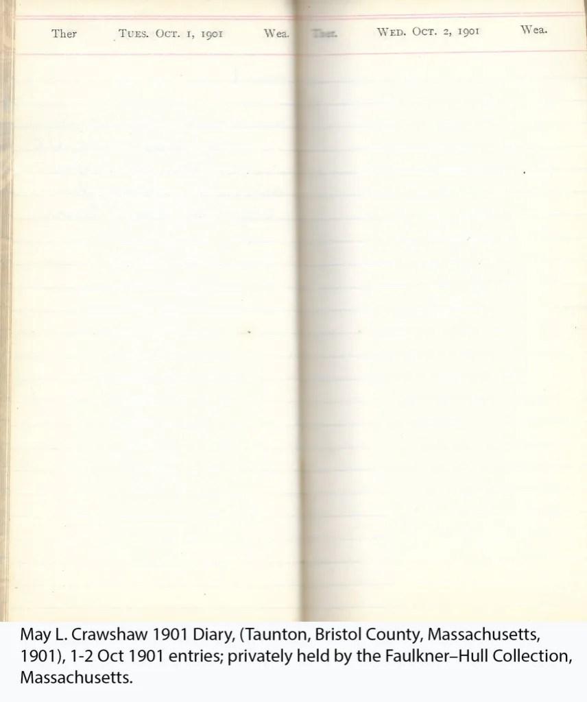 May L. Crawshaw 1901 Diary, Taunton, Bristol County, Massachusetts, 1-2 Oct 1901 entries